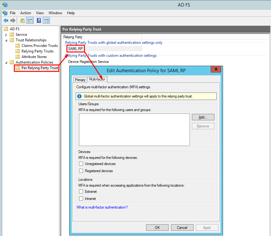 How to configure the Multi-factor Authentication (MFA) for AD FS 3 0 |