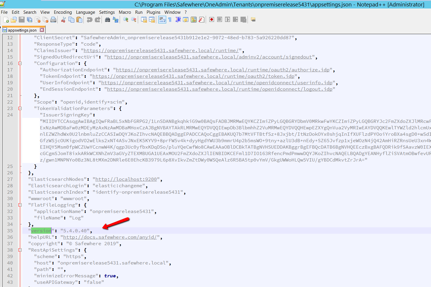 Update version in appsetting.json