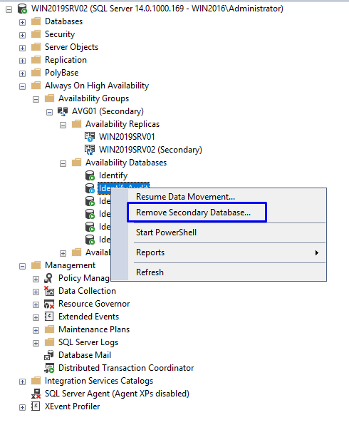 remove-secondary-database