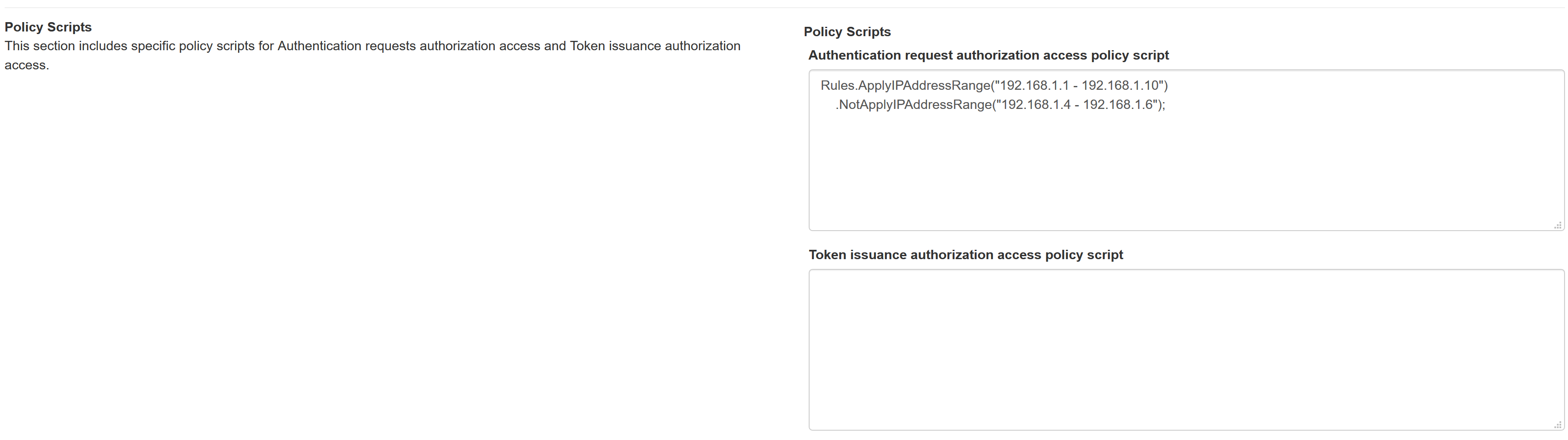 authentication requests and Token issuance access policy scripts